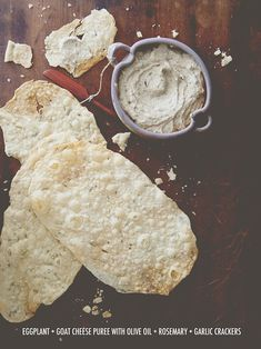 Eggplant + Goat Cheese Puree With Olive Oil + Rosemary + Garlic Crackers
