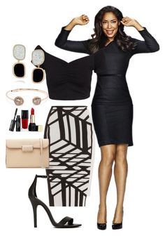 """Suits #1 Jessica Pearson"" by xsevvalini ❤ liked on Polyvore featuring NLY Trend, Roland Mouret, Shoe Cult, Marc by Marc Jacobs, Saqqara, Roberto Coin and Guerlain"