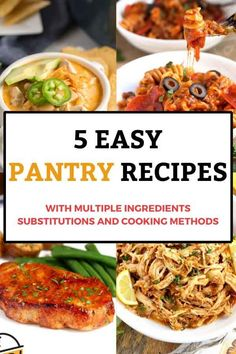 5 easy recipes, each one with different ingredient substitutions so you can make them with what you already have in your pantry, fridge and freezer. Plus different cooking methods to make cooking dinner super easy #easyrecipes #dinner #pantry Best Slow Cooker, Slow Cooker Recipes, Crockpot Recipes, Easy Recipes, Chicken Recipes, Easy Meals, Copycat Recipes, Turkey Recipes, Fancy Dinner Recipes