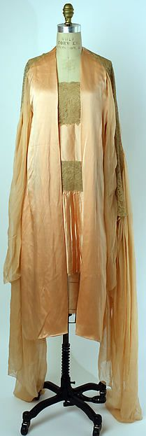 Tea gown Designer: Christophe Date: 1920s Culture: French Medium: silk, cotton Dimensions: Length at CB (a): 47 1/2 in. (120.7 cm) Length at CB (b): 35 in. (88.9 cm) Credit Line: Gift of Mrs. C. O. Kalman, 1979 Accession Number: 1979.569.66a, b