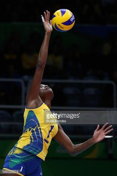#RIO2016 Fabiana Claudino of Brazil spikes the ball during the women's qualifying volleyball match between theBrazil and Japan on Day 5 of the Rio 2016...