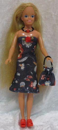 SKIPPER vintage Barbie Doll Clothes #13 Dress, Purse & Beaded Necklace Set #HandmadebyESCHdesigns