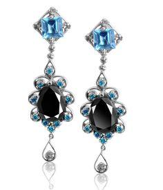 6 CT BLACK DIAMOND DANGLER EARRINGS WITH BLUE ZIRCONS Black Diamond Earrings, Diamond Jewelry, Drop Earrings, Blue Zircon, Colored Diamonds, Gemstones, Shopping, Diamond Jewellery, Gems