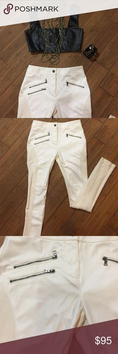 BCBG tight leather pants Worn 1 really great condition// in front is leather//stretch// off white // BCBGMaxAzria Pants