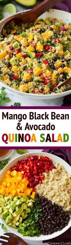 Black Bean Salad with Mango amp; Avocado Mango Black Bean and Avocado Quinoa Salad - This is sooo good! Perfect side to grilled chicken or fish.Mango Black Bean and Avocado Quinoa Salad - This is sooo good! Perfect side to grilled chicken or fish. Avocado Quinoa, Quinoa Salat, Avocado Salads, Quinoa Rice, Mango Quinoa Salad, Grilled Avocado, Avocado Fries, Chicken Avacado Salad, Quinoa Bean Salad
