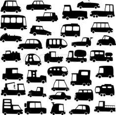 voitures, cars, bus, camionnette etc . / Car Silhouettes (Linoldruck?)