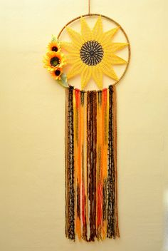 Extra Large Sunflower dream catcher2 Giant Crochet Boho