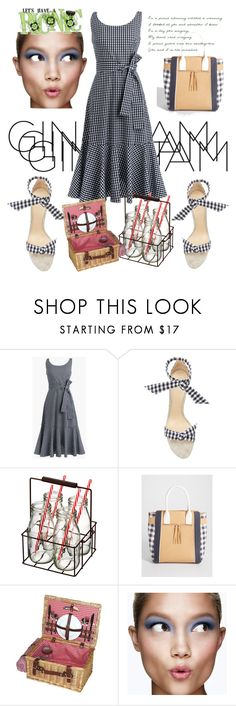 """Let's have a Picnic in Gingham🧀🍷"" by mdfletch ❤ liked on Polyvore featuring J.Crew, Alexandre Birman, Artland, maurices, Clinique and gingham"