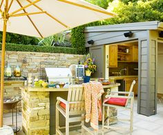 Ways to create a backyard getaway. Add an Outdoor Kitchen - If you grill at least twice a week from spring through fall and if you love eating outdoors, you need an outdoor kitchen.          You don't need a fancy grill, but a countertop for food prep and conveniences such as closed storage and a separate side burner will greatly enhance your outdoor cooking experience. Add a refrigerator and sink to make preparation and cleanup even easier.