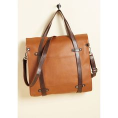Camp Director Snapped Tote ($50) ❤ liked on Polyvore featuring bags, handbags, tote bags, brown tote bags, tote purses, brown purse, vegan purses and brown faux leather tote