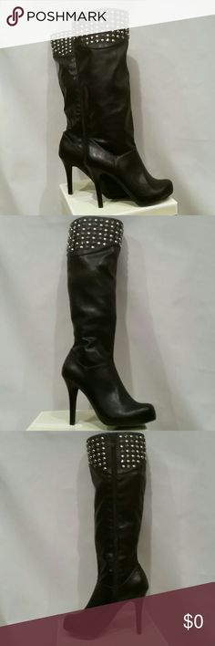 """New Black Leather BCBG GENERATION High Heel Bt AWESOME Black Leather To the knee leather boots,  with silver stud decorative uppers, zipper closure,  smooth leather, 4 1/2"""" heel.   Never worn, except in showroom.  Purchased this year.  Sz 7.5B BCBGeneration Shoes Heeled Boots"""