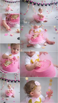 pink and gold mini mouse 1st birthday  cake smash session - 1st birthday Mini Mouse Theme