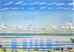 Rhythmic landscape on Lake Geneva painted by Ferdinand Hodler, 1908 ☁