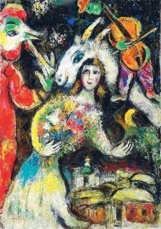 Marc Chagall - L'hiver, c. 1966. Oil on canvas, 63¾ x 45 in. (162 x 114.4 cm.).