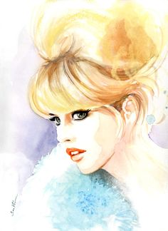 ଘ( ᐛ ) ଓ                                                                 Watercolor fashion illustration - Brigitte Bardot.