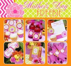 FREE (and cute!!) Mother's Day Printables - invitations, menu, wrappers, toppers, a banner and so much more!!