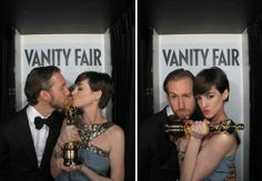 Celebs Get Silly in Just-Released Vanity Fair Oscars Photo Booth Snaps: Anne Hathaway and Adam Shulman posed in Vanity Fairs Oscars party photo booth.