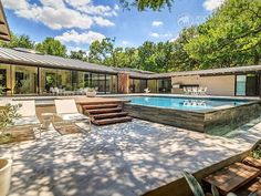 Riverbend Sandler Pools offers Geometric Pool Designs Dallas, Frisco and surrounding areas that homeowners can be proud of. Backyard Pool Landscaping, Backyard Pool Designs, Swimming Pools Backyard, Patio, Small Pool Design, Pool Builders, Dream Pools, Water Features, Dallas
