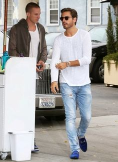 "Top Celebrity Men's Fashion Trends for Summer 2014: ""Scott Disick wears a long sleeve shirt, washed ripped jeans and Gucci blue velvet horsebit moccasin loafers in Beverly Hills."""