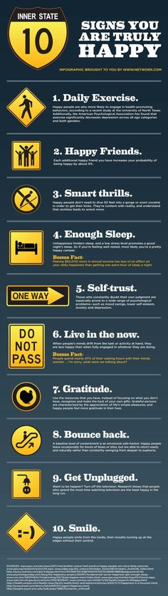 10 Signs That You Are Truly Happy [by Networx -- via #tipsographic]. More at tipsographic.com