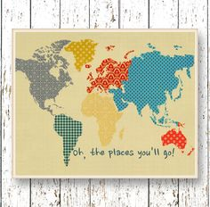 Print Oh, the Places you'll Go! Dr Seuss quote - Family Room playroom Kids wall art World map - Blue orange yellow bedroom art for children by LilChipie on Etsy