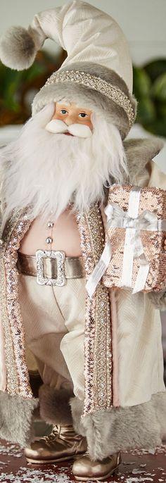 "Blush & Pewter Collection Holiday Santa, 18"""