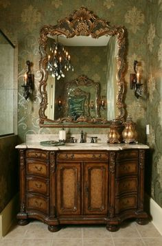 A Bath I designed in Lucy Emory Hendricks. decadent, I would use cool colors but it's gorgeous~reminds me of my grandmother. Rustic Bathrooms, Dream Bathrooms, Beautiful Bathrooms, Tuscan Bathroom Decor, Industrial Bathroom, Bathroom Ideas, Tuscany Decor, Mediterranean Home Decor, Tuscan Decorating