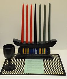 Kwanzaa Kente Classic Candleholder & Celebration Set - Made in Ghana