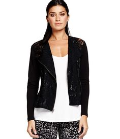 5a0f6438c778d Tough Lace (avoid delicate lace!) Long Sleeve Lace Moto Jacket - Womens
