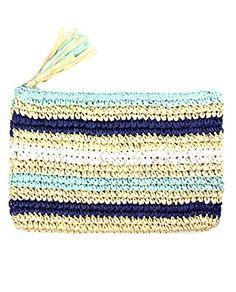 151046284936 NYFASHION101 Women s Striped Crochet Paper Straw Clutch Handbag with  Tassel