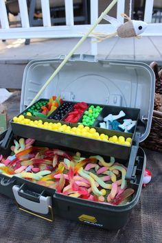 Candy Station all edible tackle/fish bait. Great idea for a Gone Fishing birthda… Candy Station all edible tackle/fish bait. Great idea for a Gone Fishing birthday party! First Birthday Parties, Boy Birthday, Fish Cake Birthday, Fishing Birthday Cakes, 1st Birthday Ideas For Boys, Redneck Birthday, 90th Birthday Gifts, Birthday Candy, Mermaid Birthday