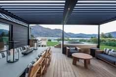 1. Adjustable overhead louvres provide an all-weather outdoor dining area.