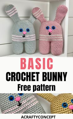 Learn How To Make The Easiest Crochet Bunny Stuffy Ever - - - This basic Crochet Bunny Pattern is the perfect free amigurumi crochet pattern for beginners. Each step is explained in detail and there's a full video tutorial as well! Easy Crochet Animals, Crochet Bunny Pattern, Crochet Patterns Amigurumi, Crochet Toys, Easter Crochet, Moogly Crochet, Free Crochet, Crochet Baby, Crochet Patterns For Beginners