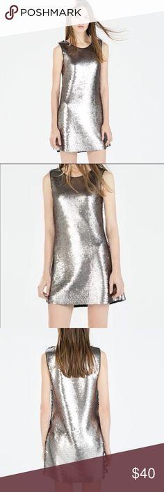 Zara silver sequin dress Zara silver sequin dress Zara Dresses