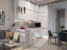 La imagen puede contener: mesa e interior Small Space Interior Design, New Interior Design, Apartment Interior Design, Kitchen Furniture, Kitchen Interior, Small Kitchen Bar, Apartment Layout, Modern Kitchen Design, Minimalist Home