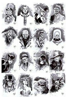 Joker and Gotham Rogues Gotham Villains, Comic Villains, Comic Book Characters, Comic Character, Comic Books Art, Comic Art, Batman Hush, Im Batman, Batman Art