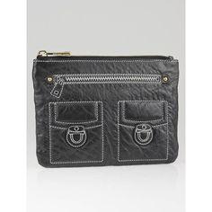 Marc Jacobs Black Leather Trompe L'Oeil Clutch Bag