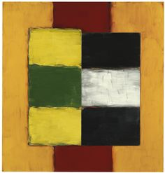 """Sean Scully (Ireland b. 1945) Green Yellow Figure (2002) oil on canvas 147.3 x 139.5 cm """