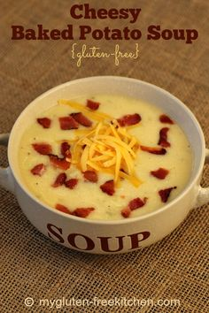 Cheesy Baked Potato Soup {Gluten-free} - Soup that tastes like a twice baked potato! My kids kept adding more and more bacon to theirs! They loved it!
