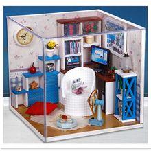 Weihnachtsgeschenk Diy Holz garten Puppenhaus Mit Möbel 3D Puzzle ...