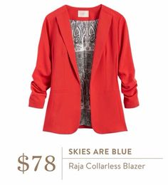 This is such a cute blazer. I love the 3/4 sleeve and the color is great.