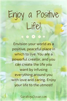 Envision your personal world as a very positive place in which to live. Focus on gratitude, and infuse your circumstances with love. Treat your life with care, and enjoy a wonderful, fulfilling experience! Daily Positive Affirmations, Morning Affirmations, Positive Life, Positive Thoughts, Positive Quotes, Happy Quotes, Life Quotes, Morning Love Quotes, Deep Words