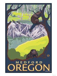 Beaver Family, Medford, Oregon Art Print