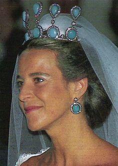 Blanca Martinez de Irujo, niece of the Duchess of Alba, wearing her family's Antique Tiara, Spain (turquoises, diamonds).