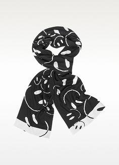 3632fd6640 Moschino Smile Woven Wool Scarf | FORZIERI Long Scarf, Alexander Mcqueen  Scarf, Moschino,
