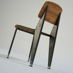 Jean Prouve chair metal photorealistic vintage furniture 1950s fifties interior vizualisation