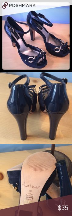 "NAVY WHITE HOUSE BLACK MARKET HEELS SWUEDE NAVY AND GOLD HARDWARE 5"" HEEL. ABSOLUTELY GORGEOUS UPPER PART OF SHOE IS PLATFORMED SO THE HEEL IS ACTUALLY ONLY 3 1/2"". GOOD CONDITION. WHITE HOUSE BLACK MARKET Shoes Heels"
