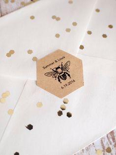 Custom hexagon bee brown kraft stickers by ctdscraftsupply on Etsy