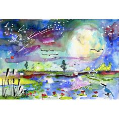 Moon Swamp Landscape New Birth Mother Earth by GinetteFineArt, $65.00