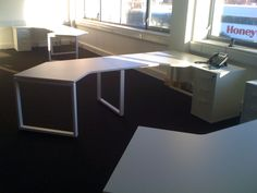The first of the desks are installed.